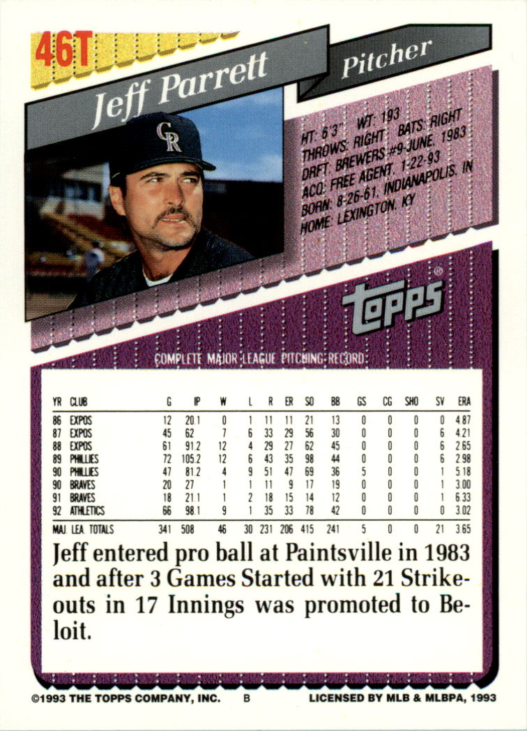 1993-Topps-Achete-Baseball-Carte-Choisissez miniature 79