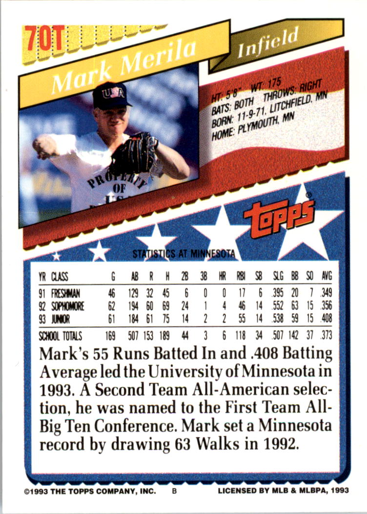 1993-Topps-Achete-Baseball-Carte-Choisissez miniature 121
