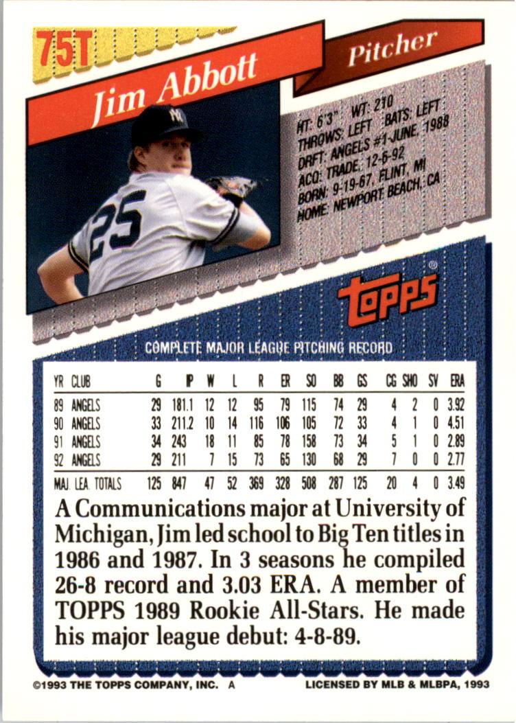 1993-Topps-Achete-Baseball-Carte-Choisissez miniature 131