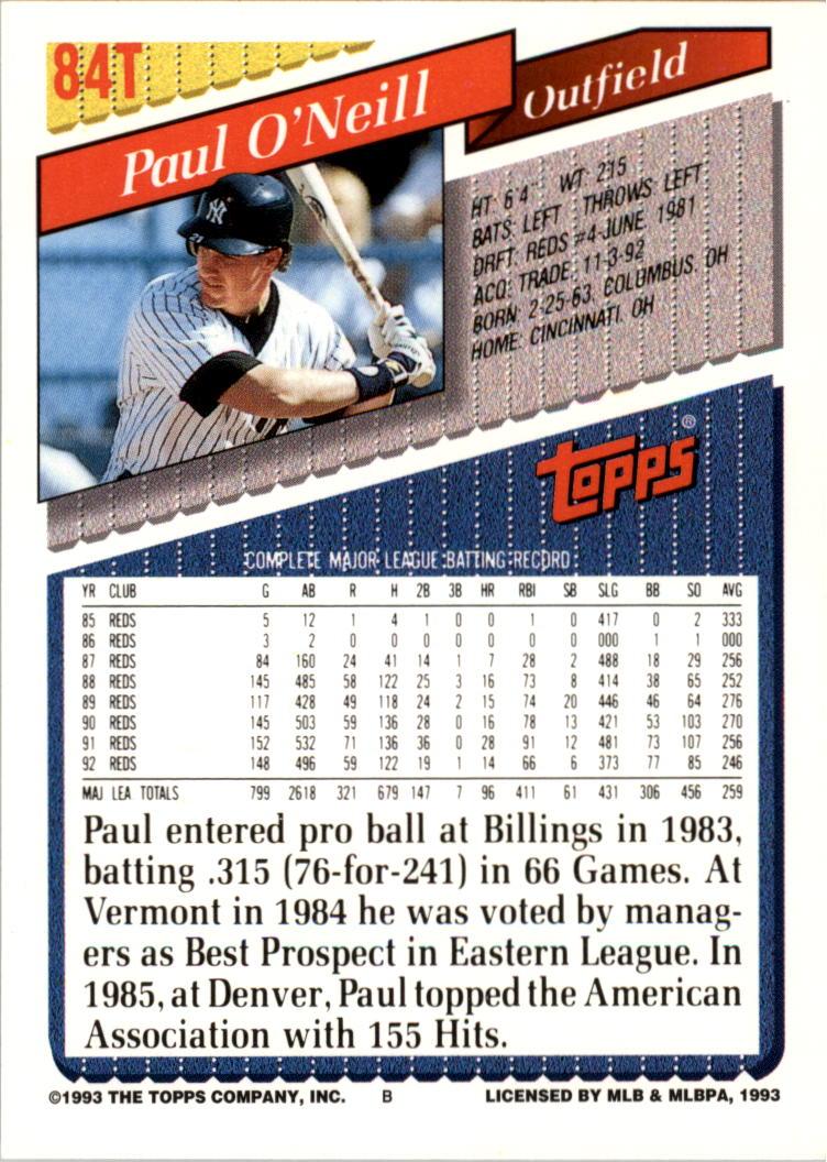 1993-Topps-Achete-Baseball-Carte-Choisissez miniature 147