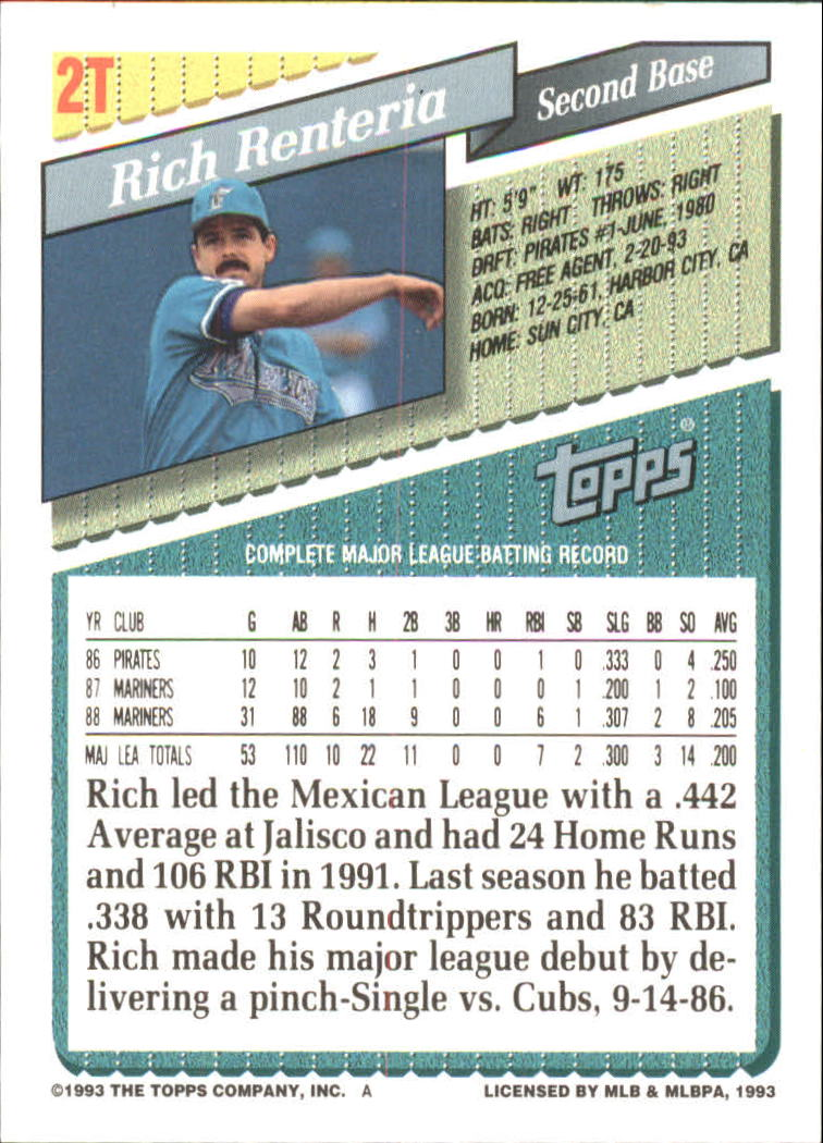 1993-Topps-Achete-Baseball-Carte-Choisissez miniature 3