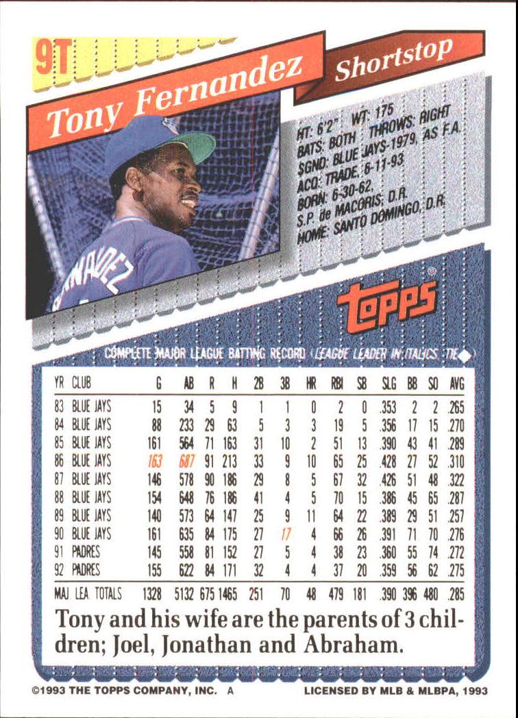 1993-Topps-Achete-Baseball-Carte-Choisissez miniature 17