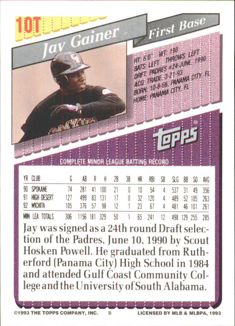 1993-Topps-Achete-Baseball-Carte-Choisissez miniature 19