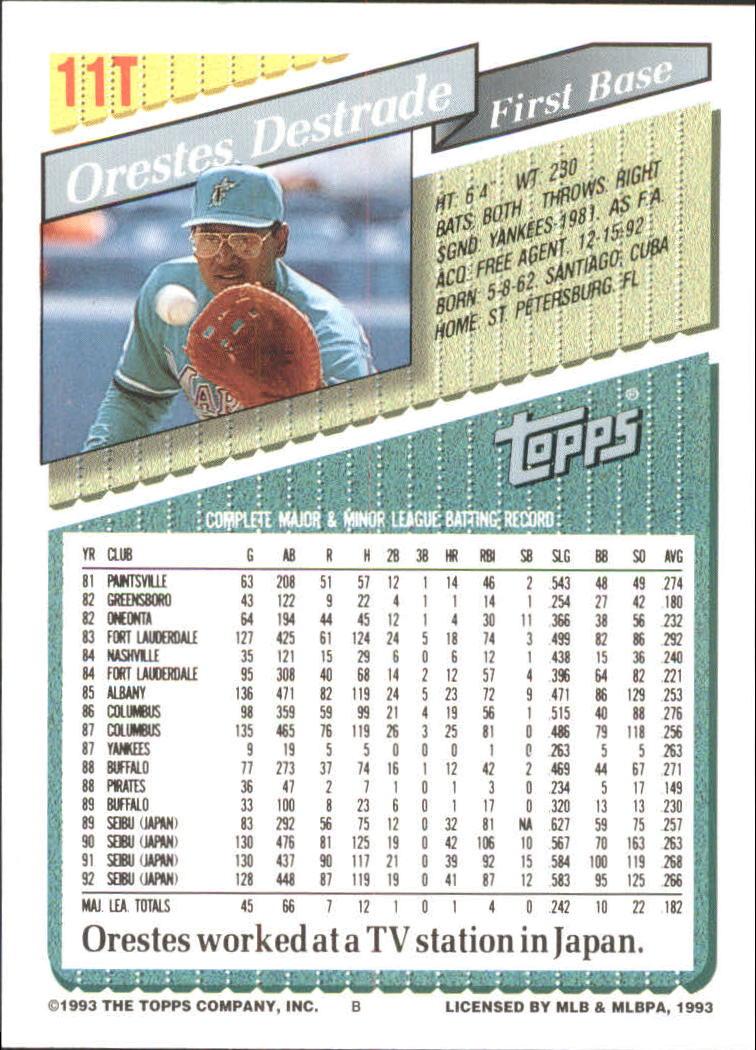 1993-Topps-Achete-Baseball-Carte-Choisissez miniature 21