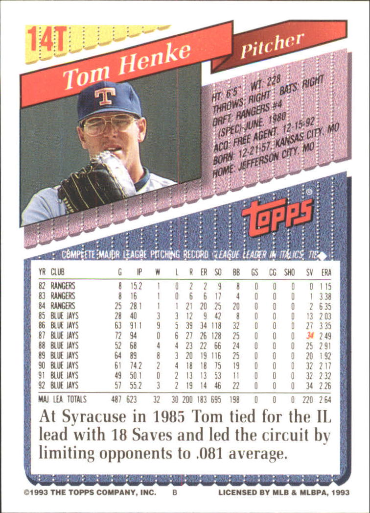 1993-Topps-Achete-Baseball-Carte-Choisissez miniature 25