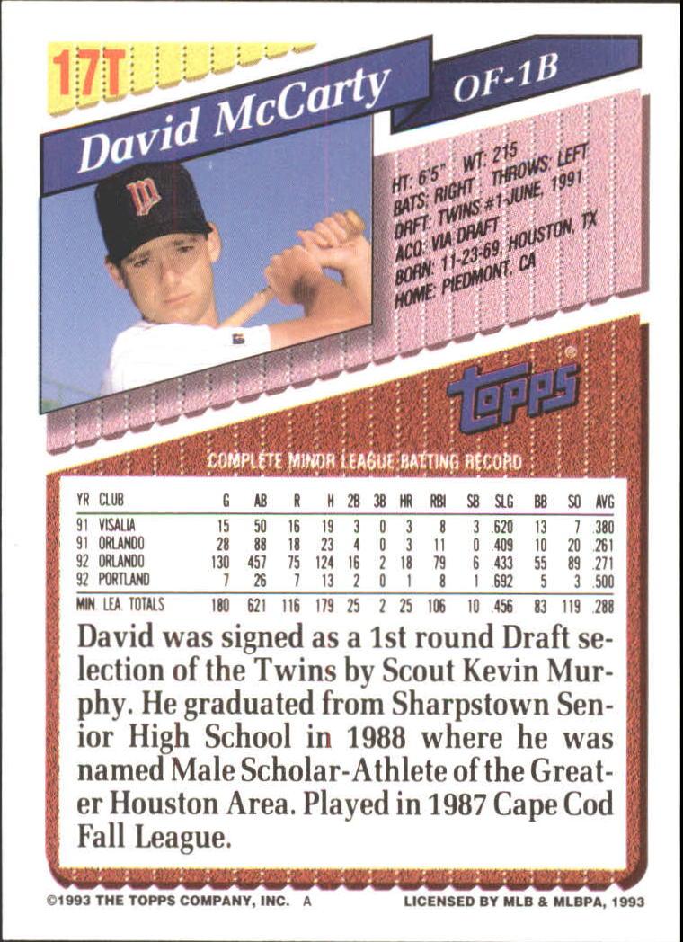 1993-Topps-Achete-Baseball-Carte-Choisissez miniature 29