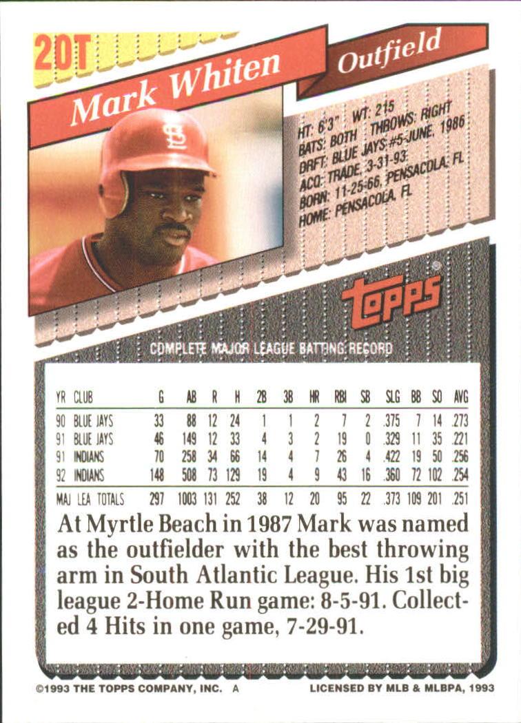 1993-Topps-Achete-Baseball-Carte-Choisissez miniature 33