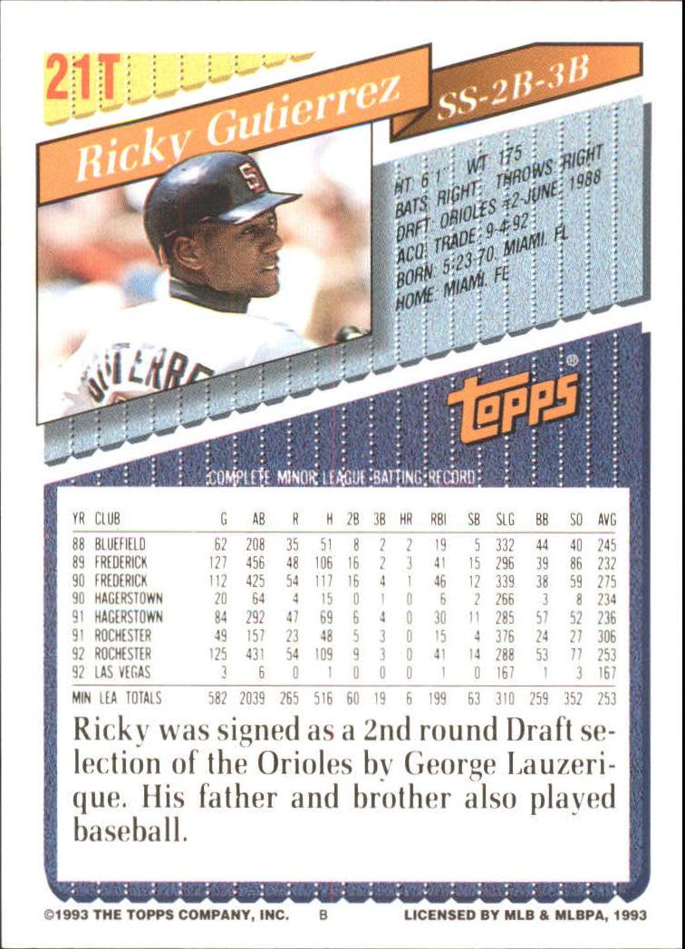 1993-Topps-Achete-Baseball-Carte-Choisissez miniature 35