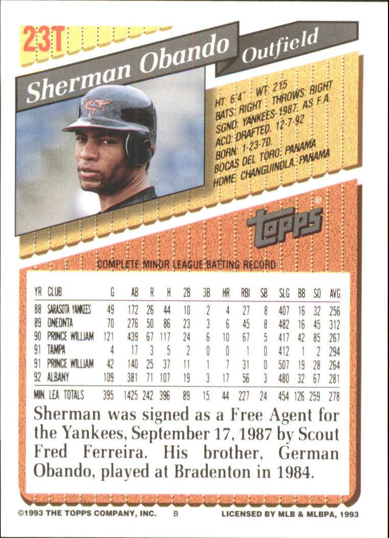 1993-Topps-Achete-Baseball-Carte-Choisissez miniature 39