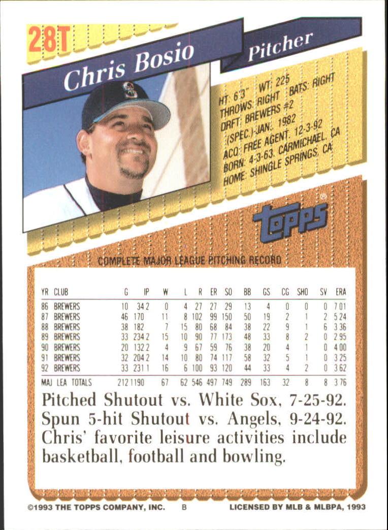 1993-Topps-Achete-Baseball-Carte-Choisissez miniature 47