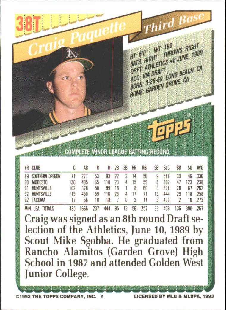 1993-Topps-Achete-Baseball-Carte-Choisissez miniature 63