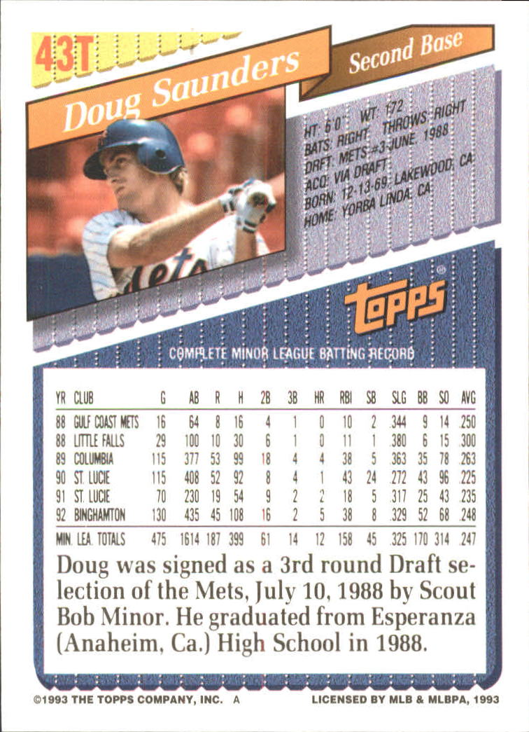 1993-Topps-Achete-Baseball-Carte-Choisissez miniature 73