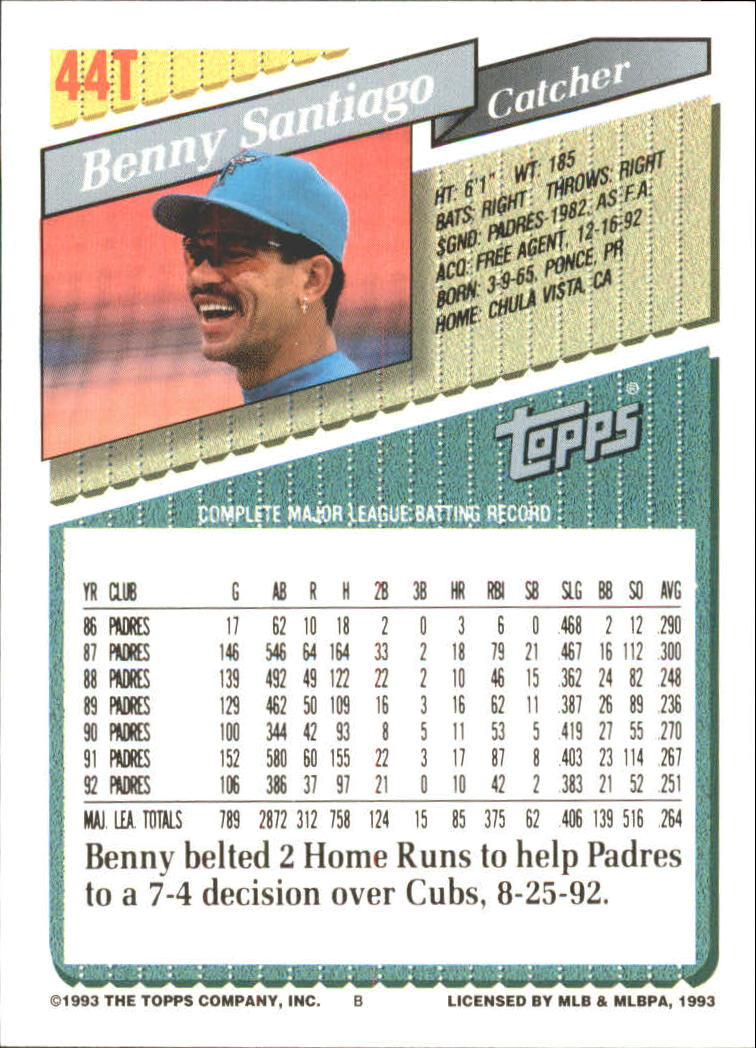 1993-Topps-Achete-Baseball-Carte-Choisissez miniature 75