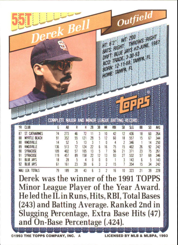 1993-Topps-Achete-Baseball-Carte-Choisissez miniature 91