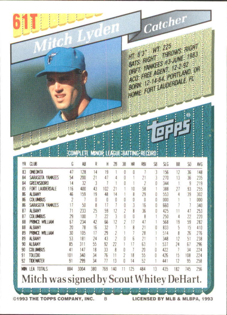1993-Topps-Achete-Baseball-Carte-Choisissez miniature 103