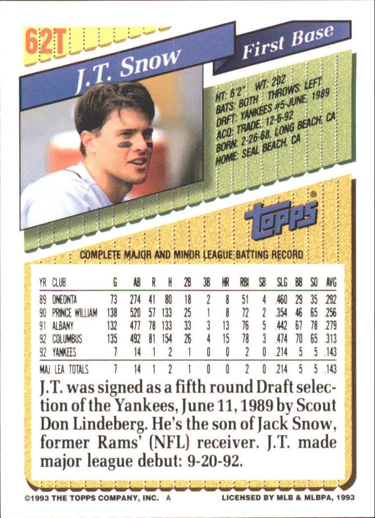 1993-Topps-Achete-Baseball-Carte-Choisissez miniature 105