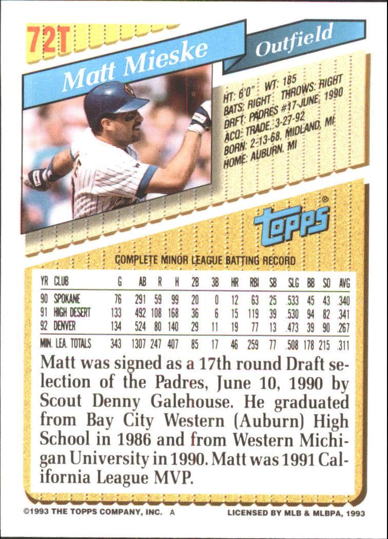 1993-Topps-Achete-Baseball-Carte-Choisissez miniature 125