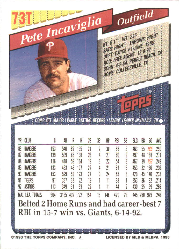 1993-Topps-Achete-Baseball-Carte-Choisissez miniature 127