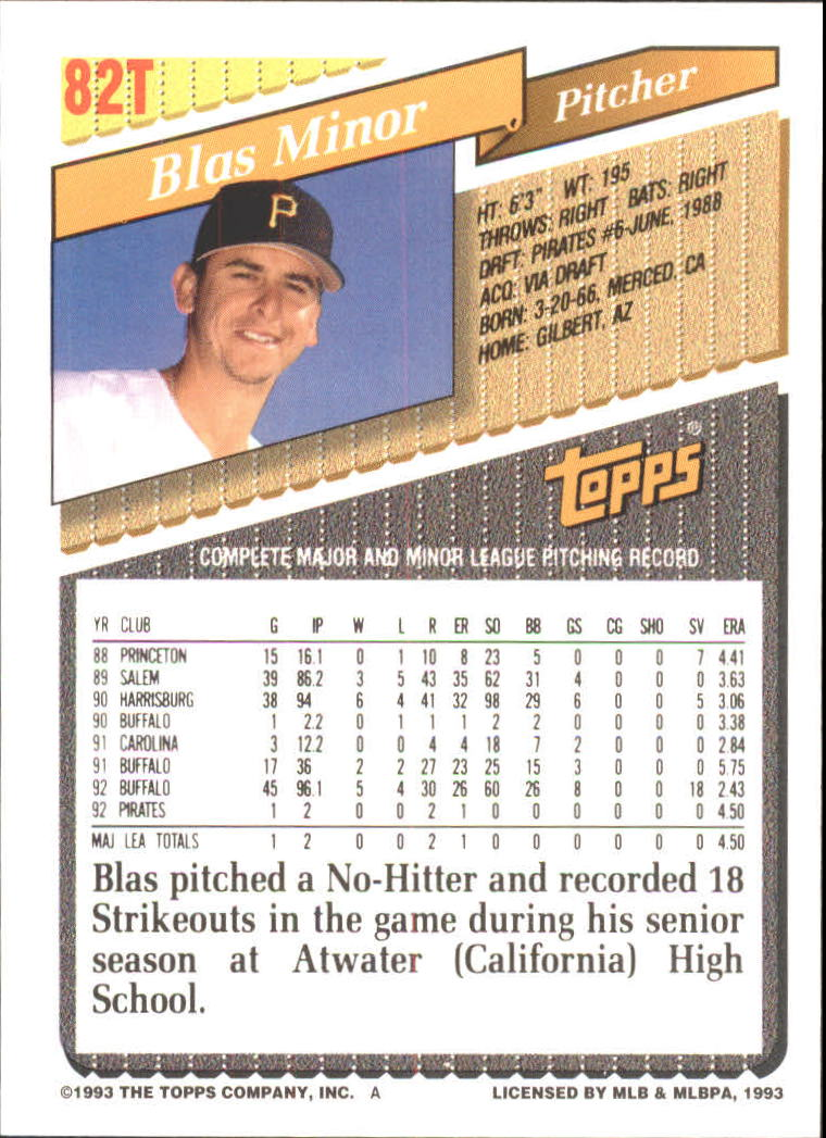1993-Topps-Achete-Baseball-Carte-Choisissez miniature 145