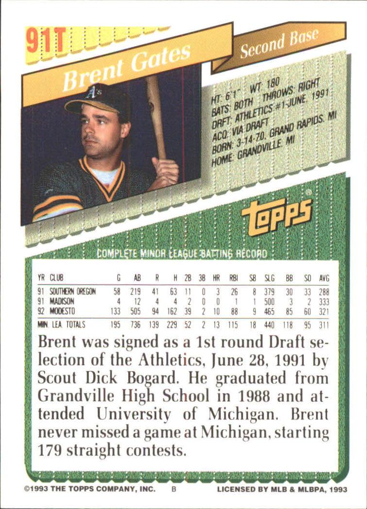 1993-Topps-Achete-Baseball-Carte-Choisissez miniature 158