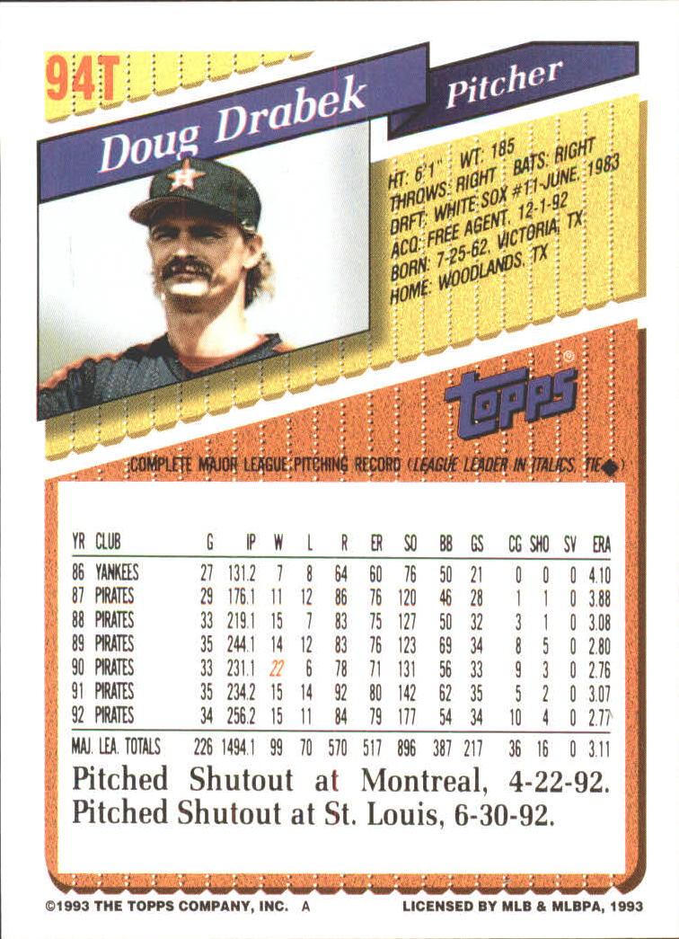 1993-Topps-Achete-Baseball-Carte-Choisissez miniature 160