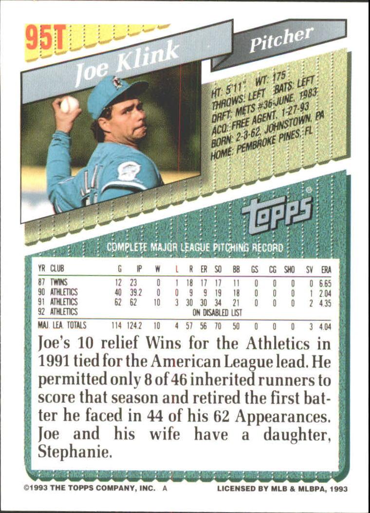 1993-Topps-Achete-Baseball-Carte-Choisissez miniature 162