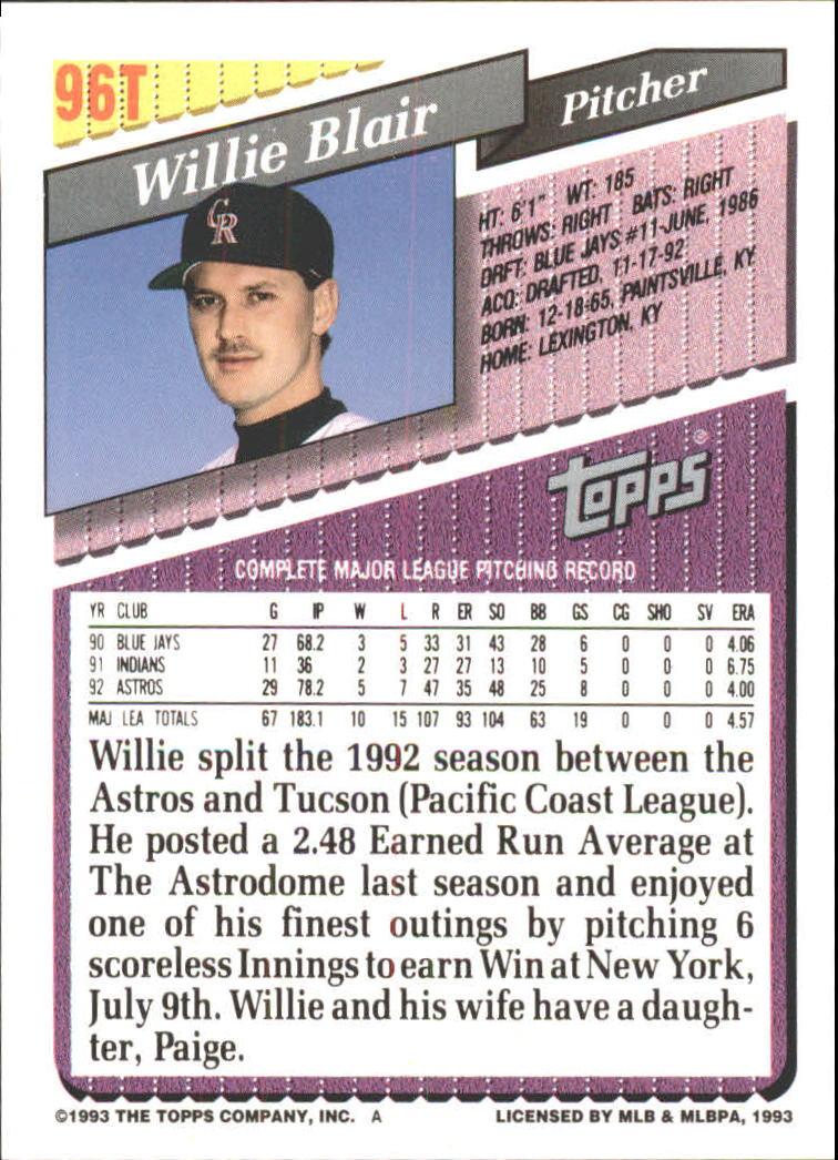 1993-Topps-Achete-Baseball-Carte-Choisissez miniature 164
