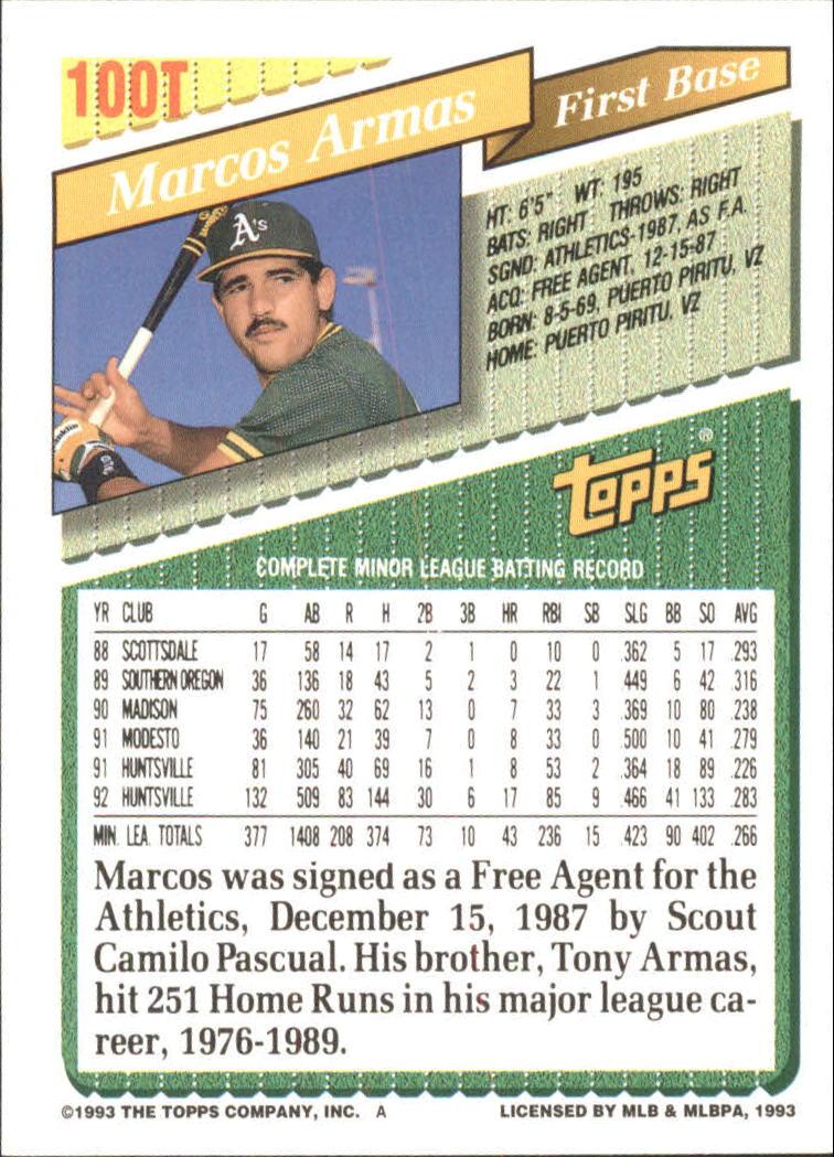 1993-Topps-Achete-Baseball-Carte-Choisissez miniature 172