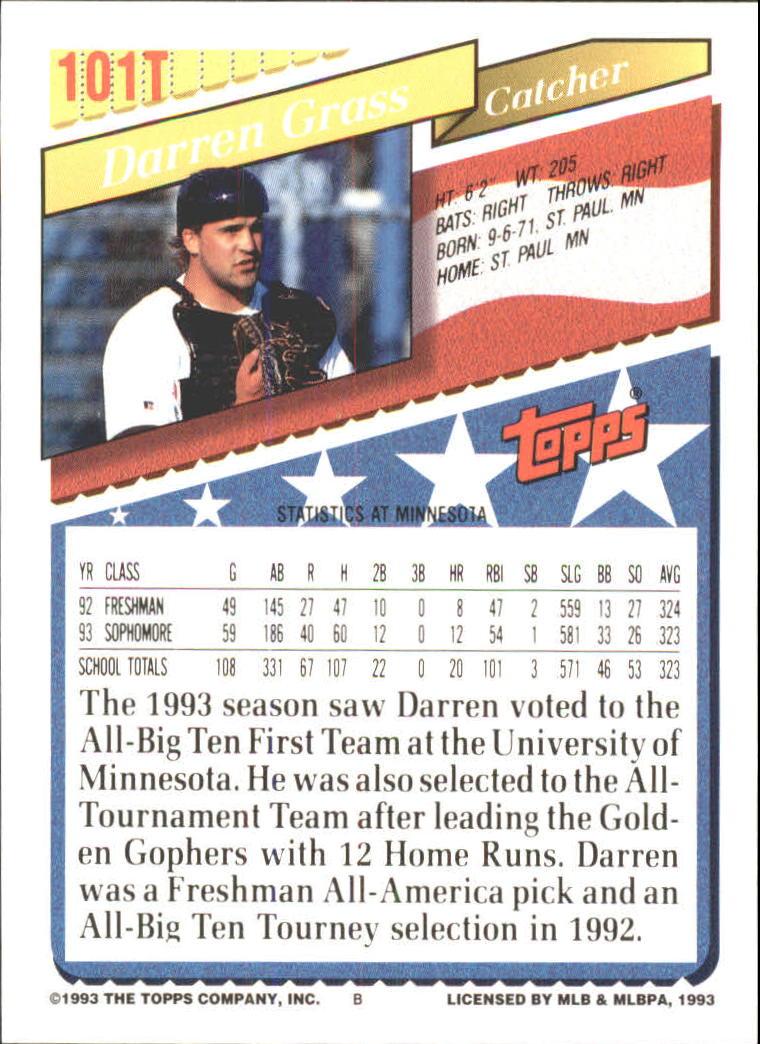 1993-Topps-Achete-Baseball-Carte-Choisissez miniature 174