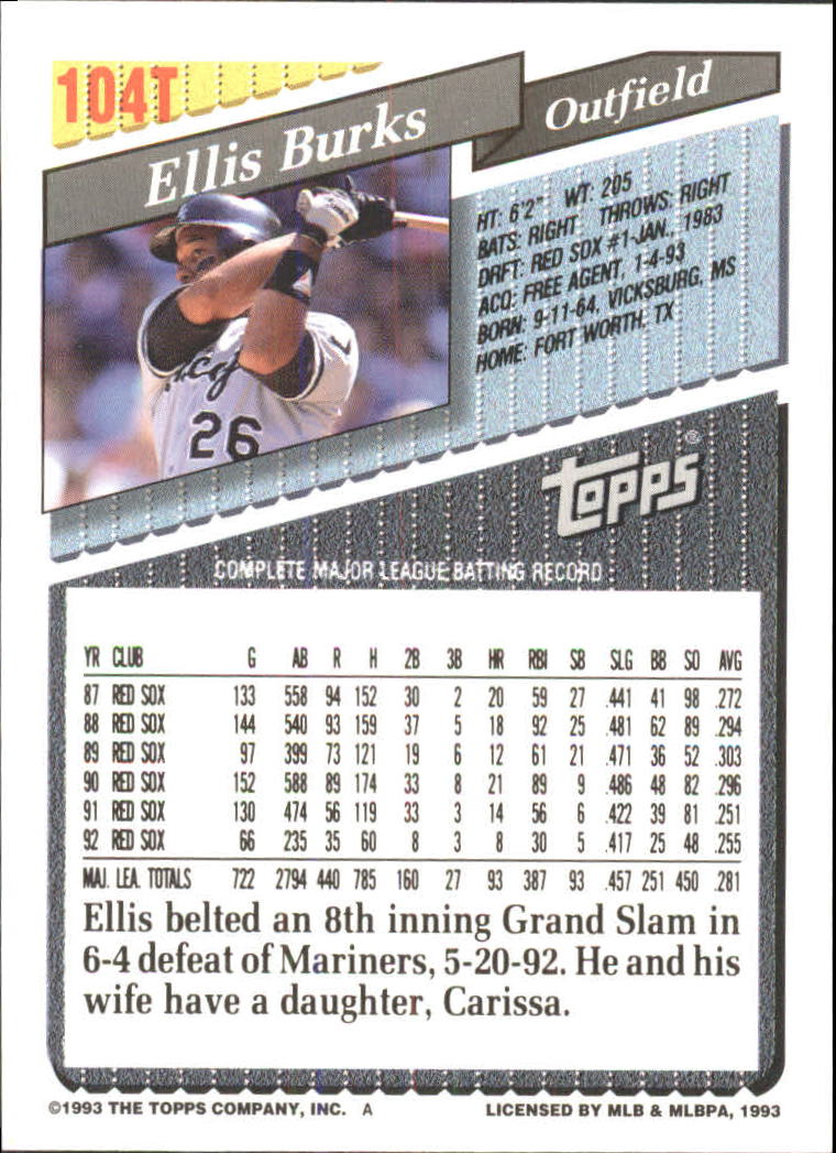 1993-Topps-Achete-Baseball-Carte-Choisissez miniature 180