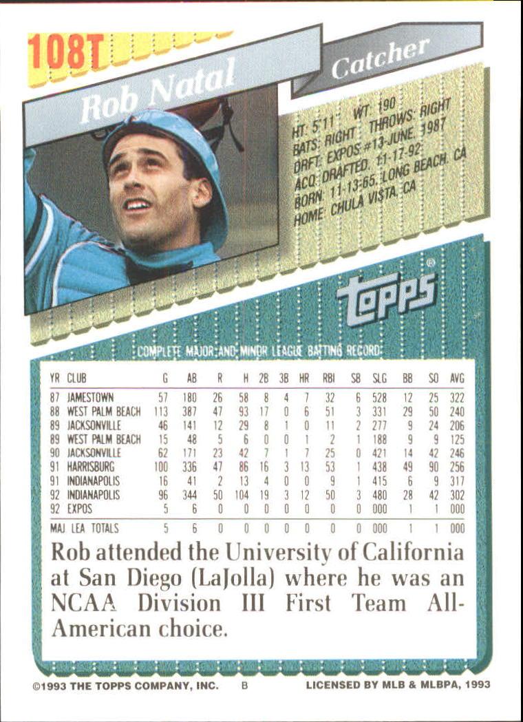 1993-Topps-Achete-Baseball-Carte-Choisissez miniature 188