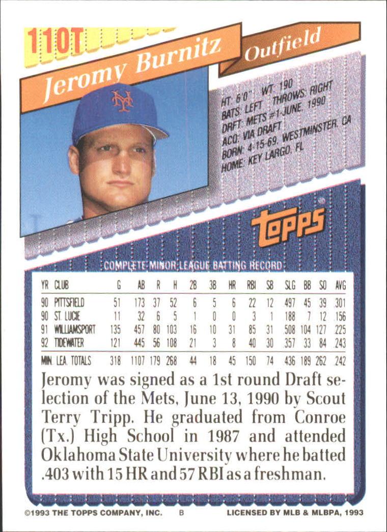 1993-Topps-Achete-Baseball-Carte-Choisissez miniature 192