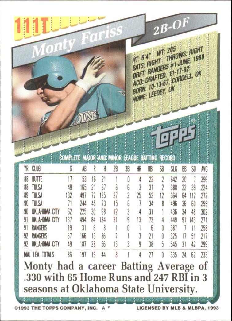 1993-Topps-Achete-Baseball-Carte-Choisissez miniature 194