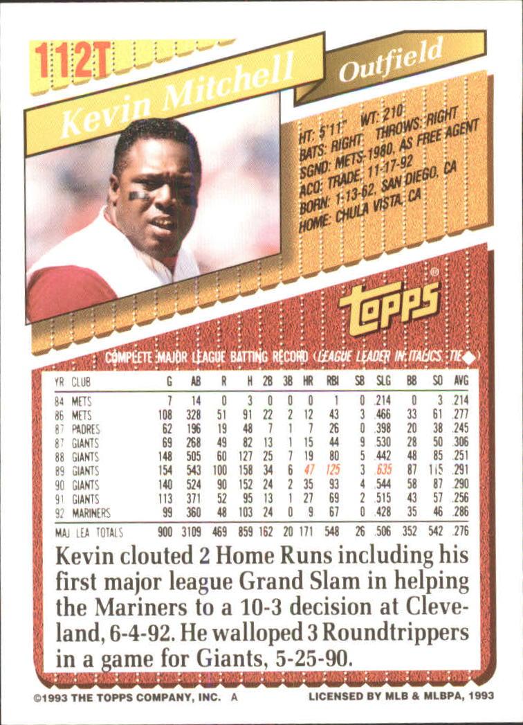 1993-Topps-Achete-Baseball-Carte-Choisissez miniature 196
