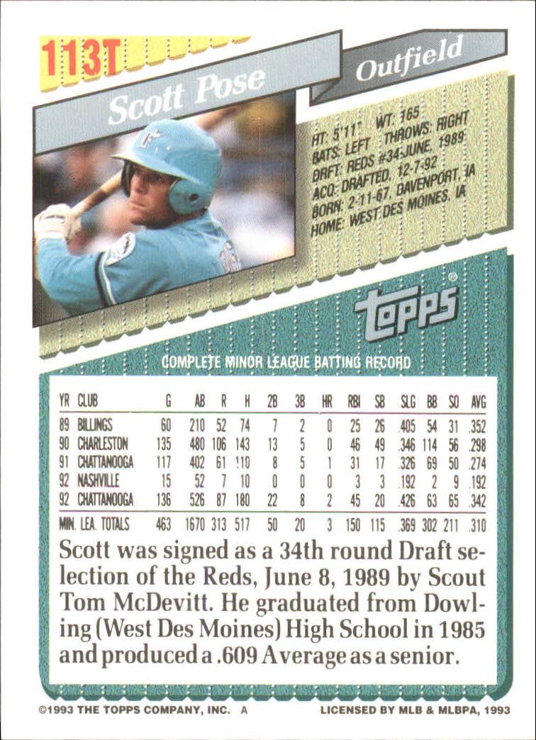 1993-Topps-Achete-Baseball-Carte-Choisissez miniature 198