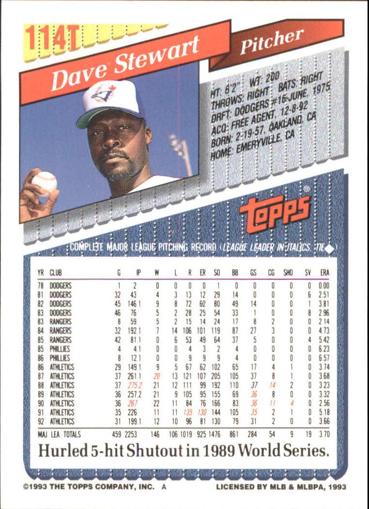 1993-Topps-Achete-Baseball-Carte-Choisissez miniature 200