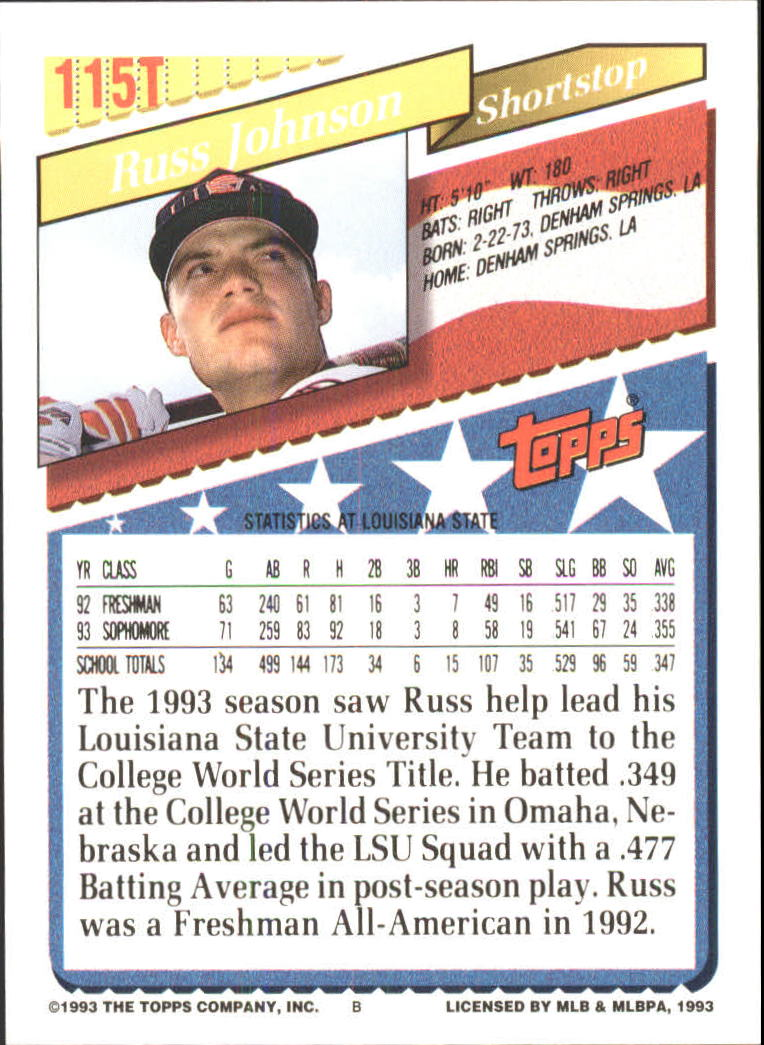 1993-Topps-Achete-Baseball-Carte-Choisissez miniature 202