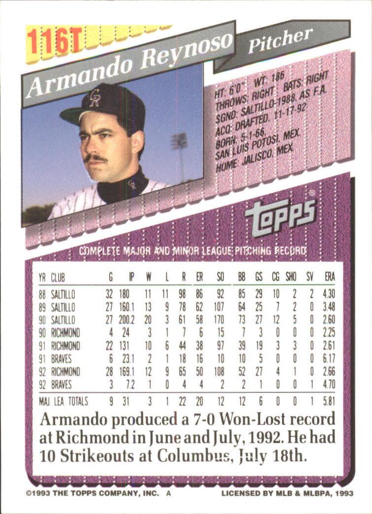 1993-Topps-Achete-Baseball-Carte-Choisissez miniature 204