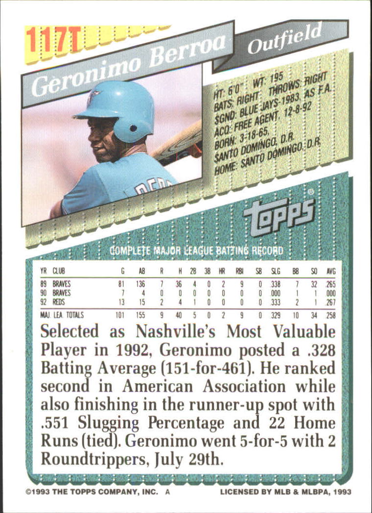 1993-Topps-Achete-Baseball-Carte-Choisissez miniature 206