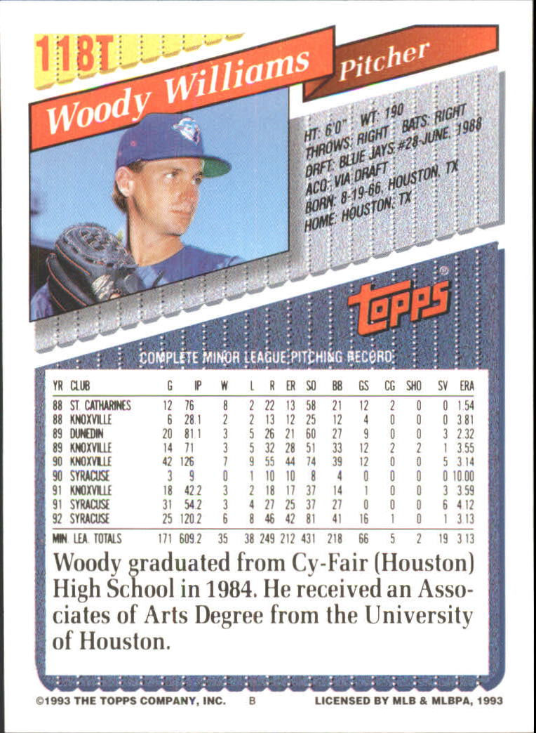 1993-Topps-Achete-Baseball-Carte-Choisissez miniature 208