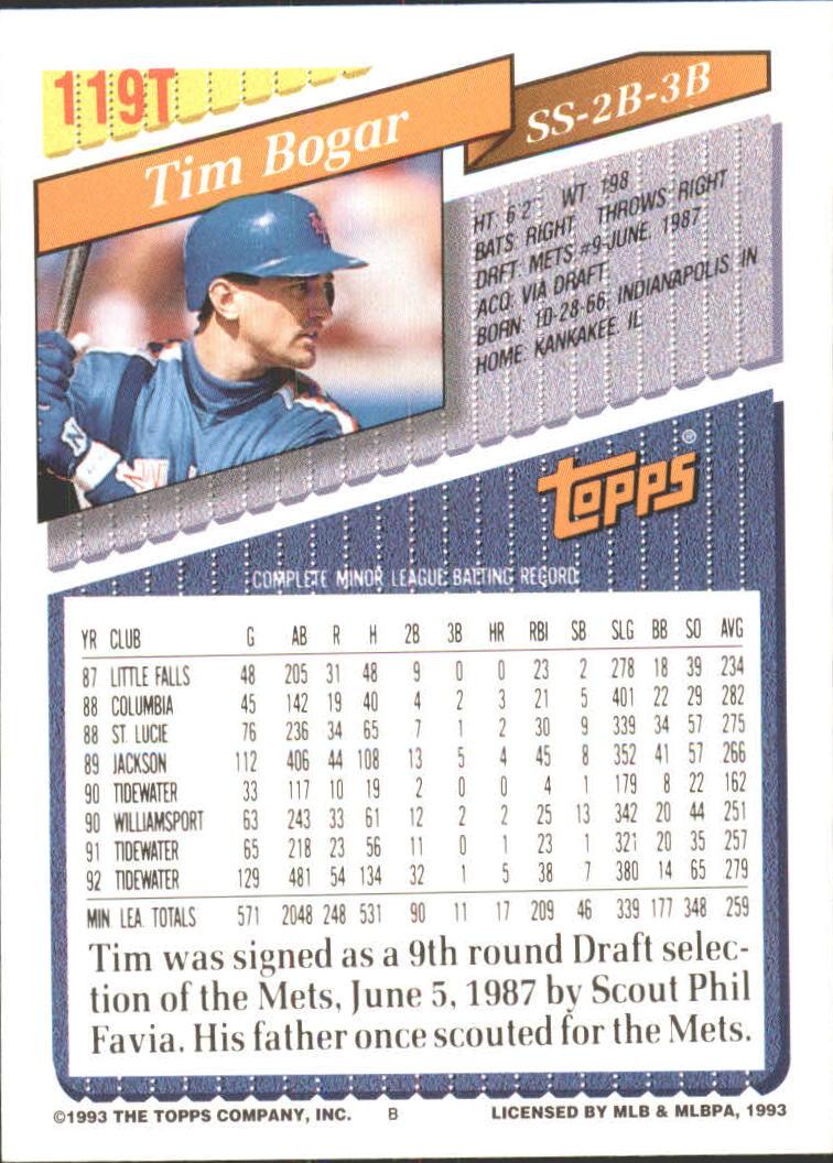 1993-Topps-Achete-Baseball-Carte-Choisissez miniature 210
