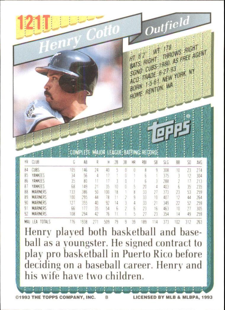 1993-Topps-Achete-Baseball-Carte-Choisissez miniature 214