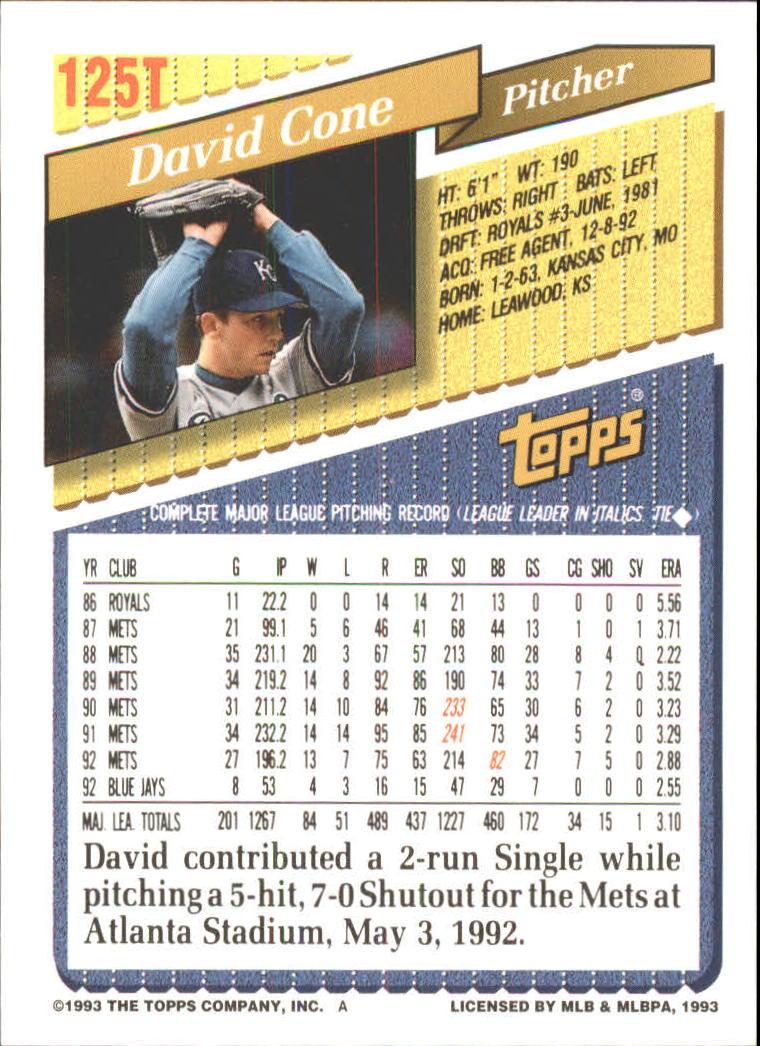 1993-Topps-Achete-Baseball-Carte-Choisissez miniature 222