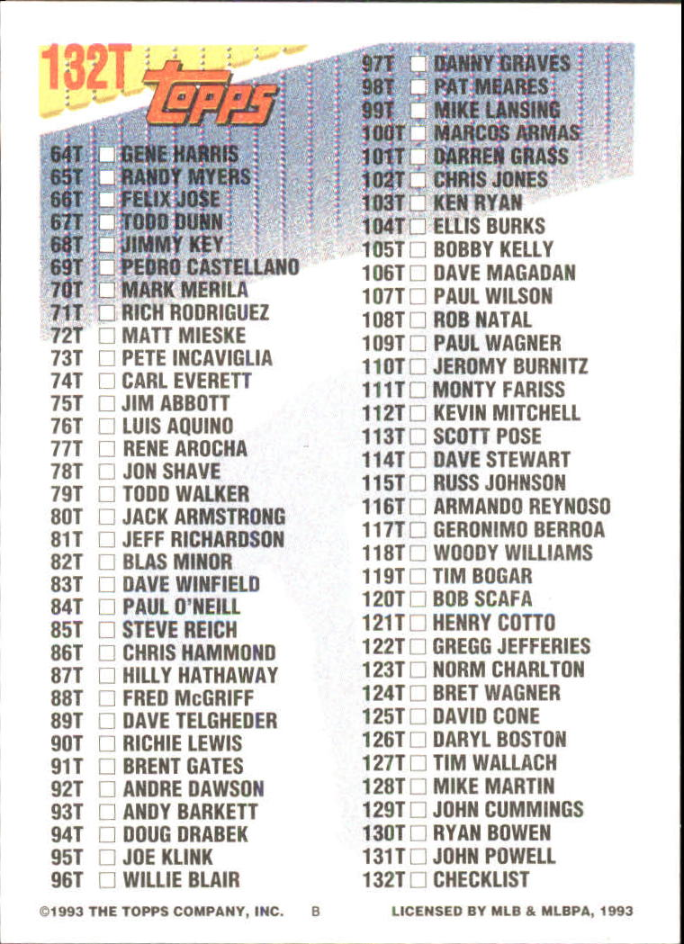 1993-Topps-Achete-Baseball-Carte-Choisissez miniature 236