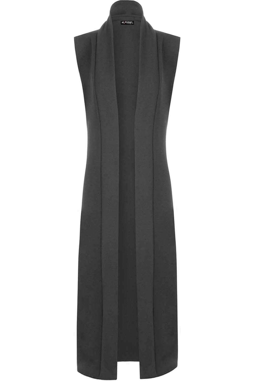 neu damen lang maxi offen rmelloses top mantel jacke. Black Bedroom Furniture Sets. Home Design Ideas