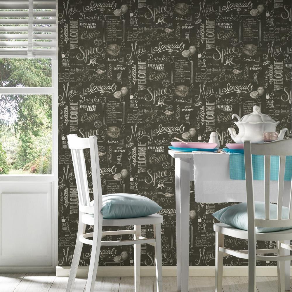 as creation noir tableau noir motif papier peint bistrot caf restaurant rouleau ebay. Black Bedroom Furniture Sets. Home Design Ideas