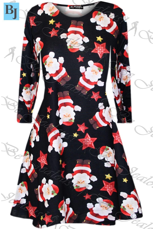 damen weihnachten mini kittel swing kleid santa geschenk. Black Bedroom Furniture Sets. Home Design Ideas