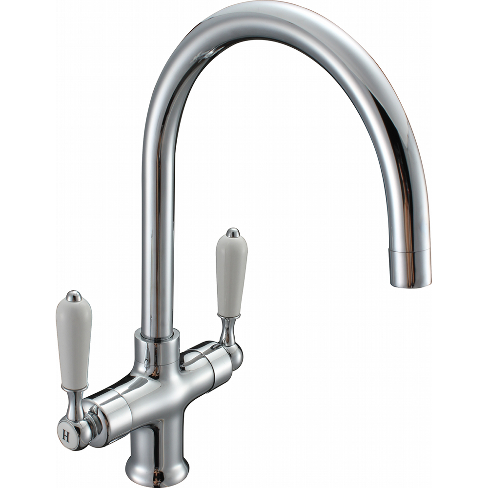 White Kitchen Mixer Tap enki chrome kitchen sink mixer tap traditional black white brushed
