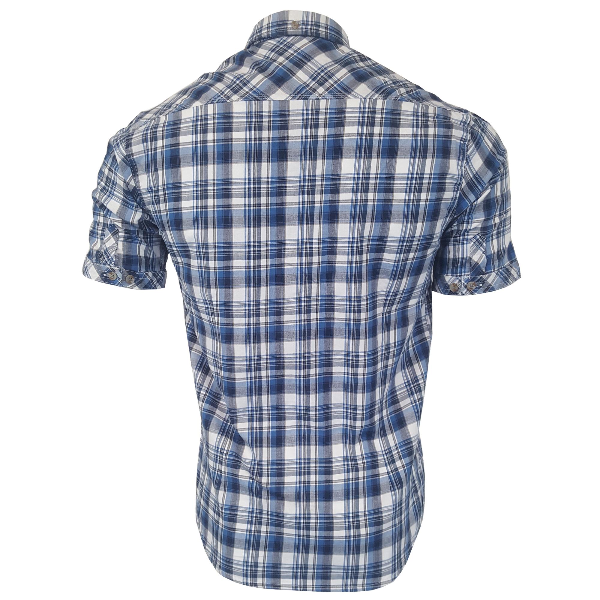 uomo-a-scacchi-tartan-Camicie-Tokyo-Laundry-Ashmore-manica-corta-Stafford-ESTATE