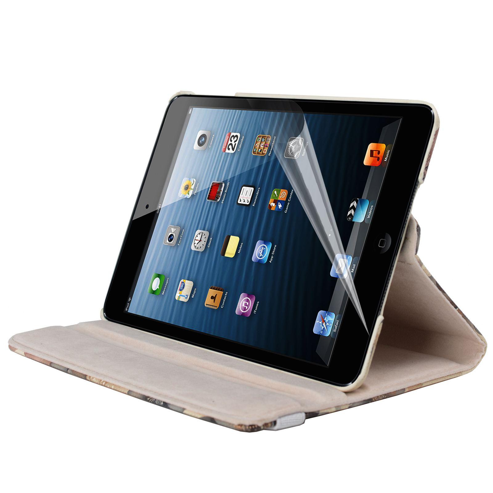 Para-Apple-IPAD-Mini-1-2-3-Smart-Funda-de-Piel-Flores-Rotacion-360 miniatura 3